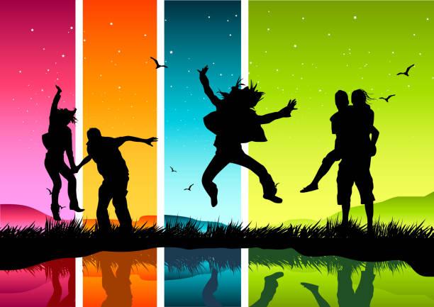 junge happy people - urlaubsaktivitäten stock-grafiken, -clipart, -cartoons und -symbole