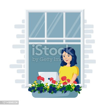 istock Young happy smiling woman with laptop sits by the open window.Vector illustration of a remote work from home. Freelance.Distance Learning Home Office 1214998036