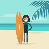 Young happy surfer wearing a wetsuit and holding a surfboard. Summer. Tropical beach. Flat editable vector illustration, clip art