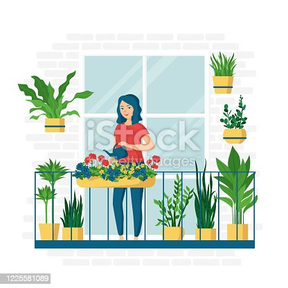 Young happy smiling woman is watering flowers on the balcony. Growing and caring for potted plants. Houseplants. Concept of home garden. Vector illustration in cartoon flat style