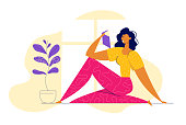 Young Happy Woman Reading Book at Home. Female Character with Textbook. Girl Learning and Studying in Library. Education Concept. Vector flat cartoon illustration