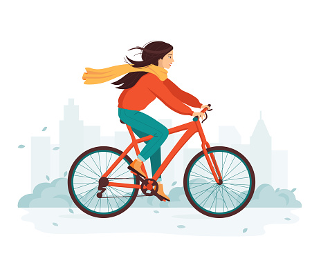 Young happy woman rides a bicycle in the autumn city. The concept of outdoor activity and healthy lifestyle in the fall. Eco-friendly transport, vehicle. Cute cartoon vector illustration