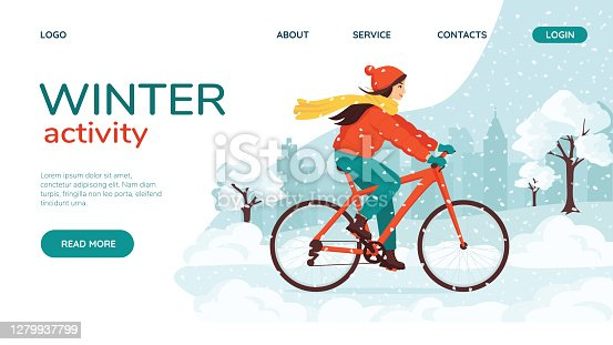 Young happy woman rides a bike in the winter snowy city park. Landing page concept. Eco-friendly transport, vehicle. Outdoor activities during the cold season, a healthy lifestyle. Cute cartoon vector illustration