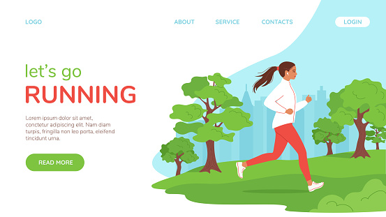 Young healhty woman runs in the city park. Landing page concept, template. Active  lifestyle, jogging, city competitions, running marathons, cardio workouts, exercise. Vector illustration