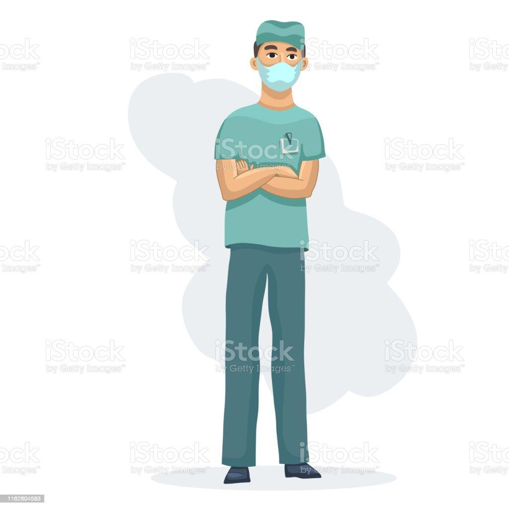 Jeune professionnel de la santé caractère masculin d'infirmière se tenant des mains croisées dans l'uniforme médical d'usure - clipart vectoriel de Adulte libre de droits