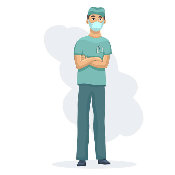Young healthcare practitioner male nurse character standing cross hands in medical wear uniform Young healthcare practitioner male nurse character standing cross hands in medical wear uniform. Vector flat illustration colorful isolated on white background male nurse stock illustrations