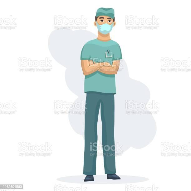 Jeune Professionnel De La Santé Caractère Masculin Dinfirmière Se Tenant Des Mains Croisées Dans Luniforme Médical Dusure Vecteurs libres de droits et plus d'images vectorielles de Adulte