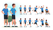 Young healthy sportsman person poses, various actions set. Front and back views collection. Fit man standing in park, walking, jogging, running, jumping, sitting in chair. Flat vector character illustration