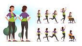 Young healthy sportswoman person poses, various actions set. Front and back views collection. Fit woman standing in park, walking, jogging, running, jumping, sitting in chair. Flat vector illustration