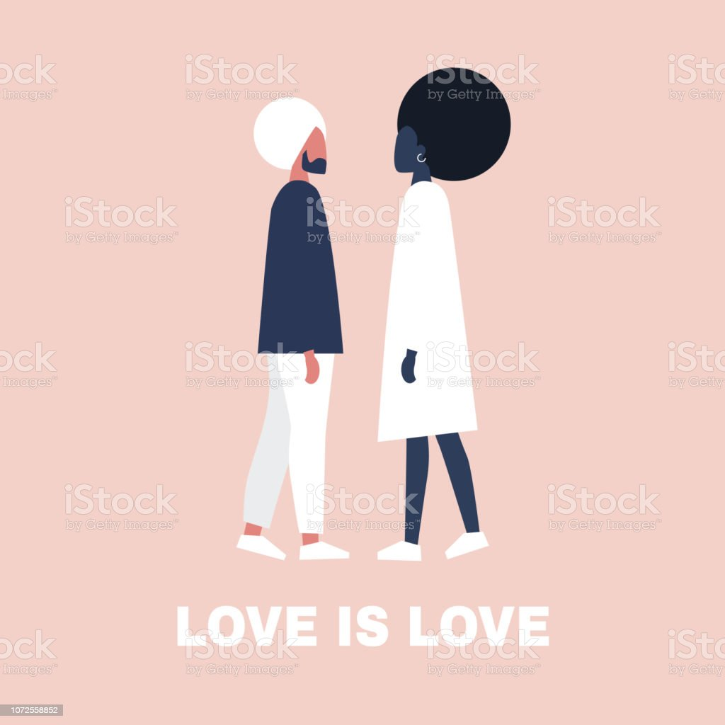 Young heterosexual characters standing in front of each other. Interracial couple. African american girl and indian man, Love is love. Romantic relationships. vector art illustration