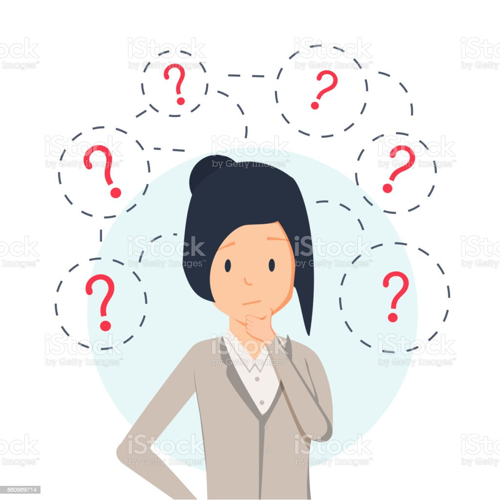 young hipster business woman thinking standing under question marks