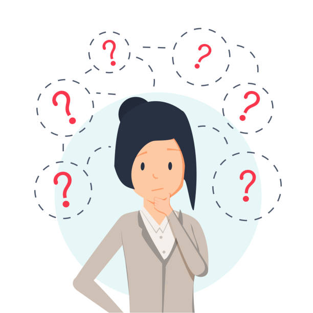 Young hipster business woman thinking standing under question marks. Vector flat cartoon illustration character icon. Young hipster business woman thinking standing under question marks. Vector flat cartoon illustration character icon. Business woman surrounded by question marks concept. Women think confused stock illustrations