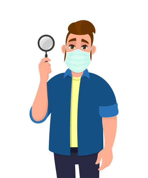 illustrazioni stock, clip art, cartoni animati e icone di tendenza di young hipster man wearing medical mask and showing magnifying glass. trendy person covering face protection from virus. male character holding magnifier lens. cartoon illustration in vector style. - hand on glass covid