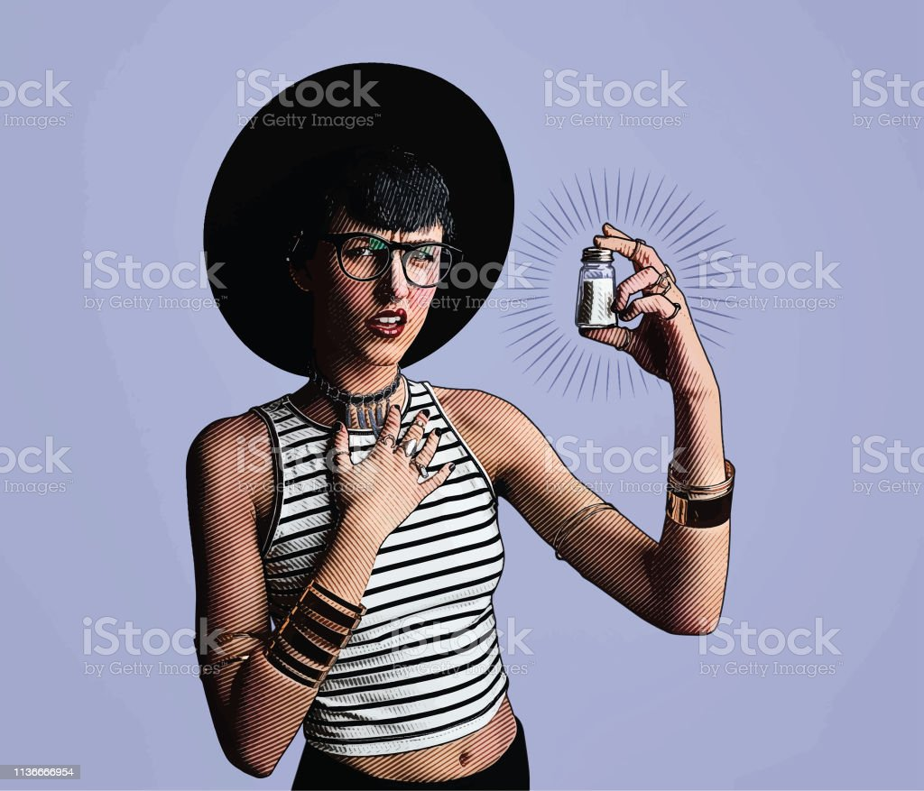 Young hipster woman holding salt shaker with confused facial expression vector art illustration