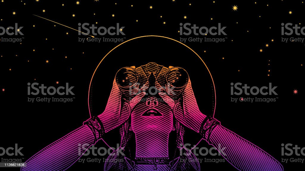 Young hipster woman with binoculars and stars - arte vettoriale royalty-free di Adulto