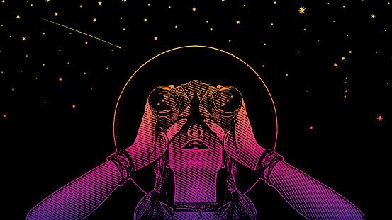 Young Hipster Woman With Binoculars And Stars - Immagini vettoriali stock e altre immagini di Adulto