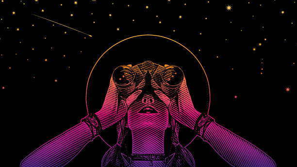 Young hipster woman with binoculars and stars vector art illustration