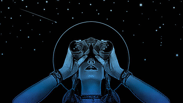 Young hipster woman with binoculars and stars Engraving vector of a Young hipster woman with binoculars and stars one young woman only stock illustrations