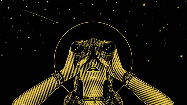 illustrazioni stock, clip art, cartoni animati e icone di tendenza di young hipster woman with binoculars and stars - project