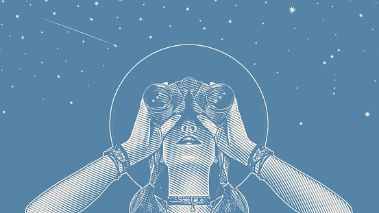 Young hipster woman with binoculars and stars