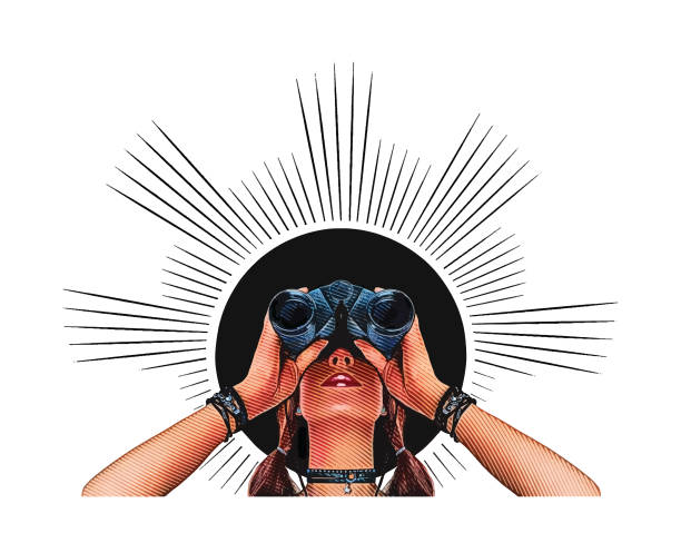 young hipster woman with binoculars - entrepreneurship stock illustrations