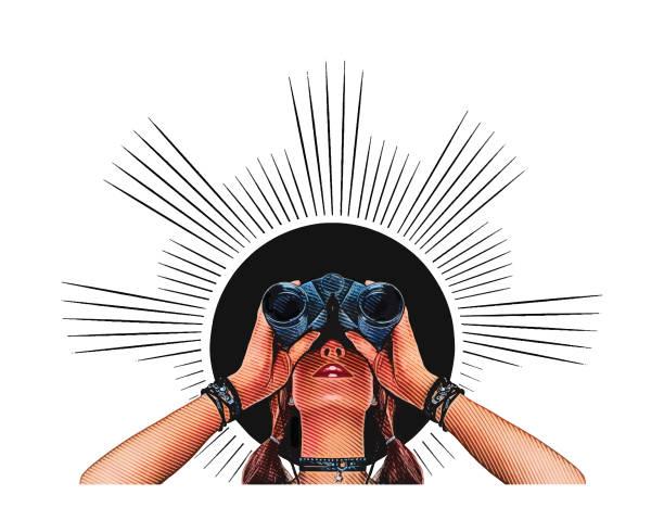 ilustrações, clipart, desenhos animados e ícones de mulher jovem hippie com binóculos - entrepreneurship