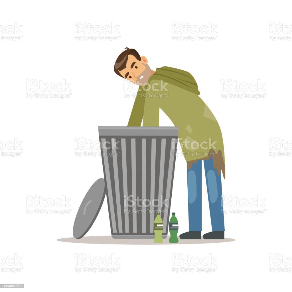 Young Homeless Man Character Looking For Food In A Trash Can ...