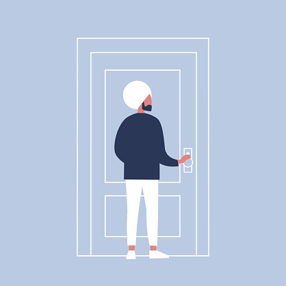 Young indian character holding a door knob. Entering the building. Flat editable vector illustration, clip art