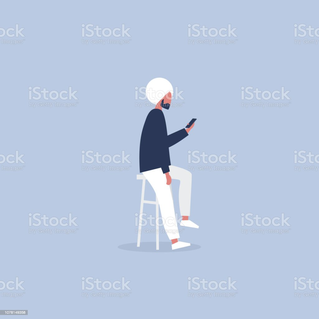 Young indian character sitting on the bar stool and holding a smartphone. Millennial lifestyle. Social media. Flat editable vector illustration, clip art vector art illustration