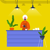 Young indian male barista pouring coffee at the bar counter. Cafe. Loft interior. Modern lifestyle. Flat editable vector illustration, clip art
