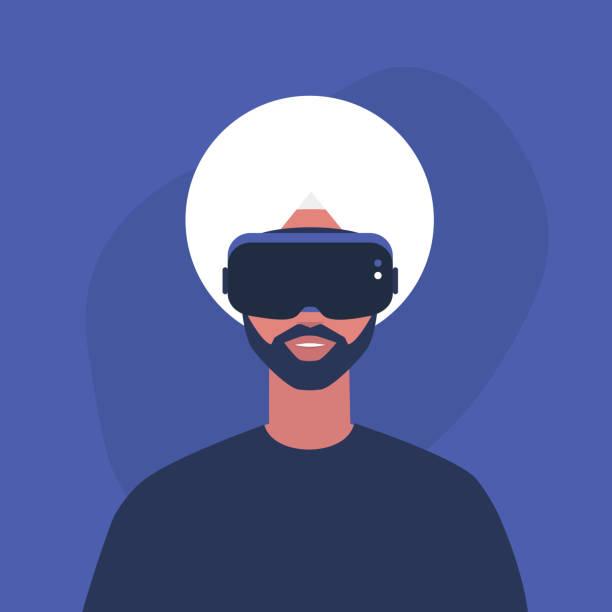 illustrazioni stock, clip art, cartoni animati e icone di tendenza di young indian male character wearing a virtual reality headset, millennial gadgets and lifestyle - ritratto 360 gradi