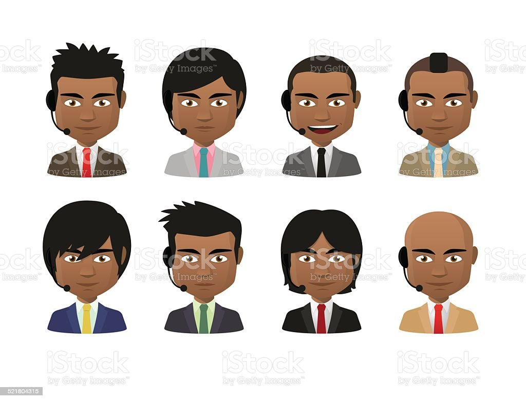 young indian men wearing suit and a headset avatar set vector art illustration