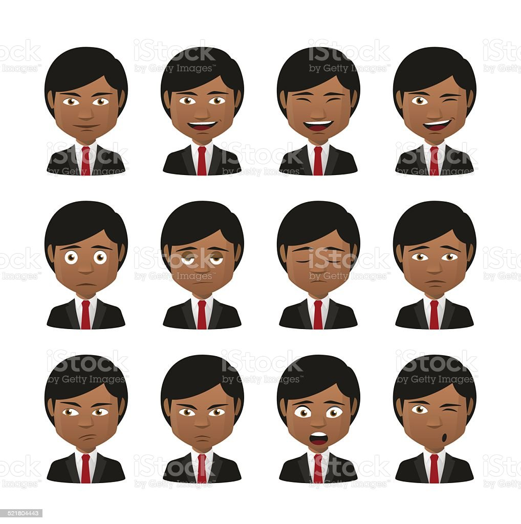 young indian men wearing suit avatar expression set vector art illustration