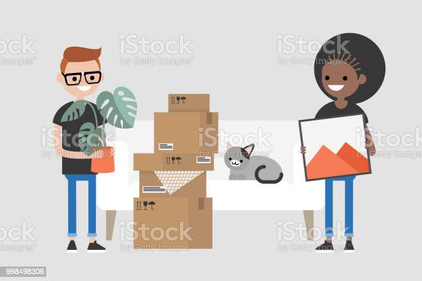 Young interracial couple moving to a new apartment relocation flat vector id998498306?b=1&k=6&m=998498306&s=612x612&h=ociwcaukqes9kx yjiroqc1u4jfyfpelkkek7vzxloy=