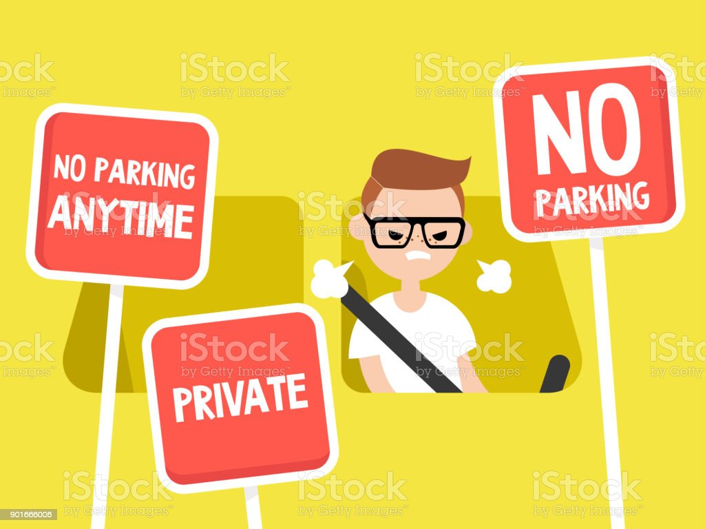 Young irritated character trying to find a place to park his car. Restriction road signs. No parking. Flat editable vector illustration, clip art vector art illustration