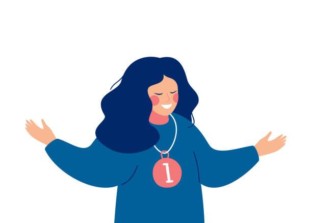 ilustrações, clipart, desenhos animados e ícones de mulher alegre nova com a medalha de ouro isolada no fundo branco - woman happy