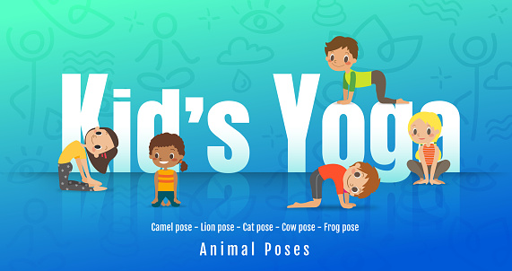 Young kids in different yoga poses, Children doing yoga with animal posture. Vector cartoon illustration.