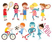 Young kids portsmens isolated on white vector illustration