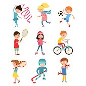 Young kids sportsmens isolated on white vector illustration