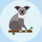 Young koala sitting on tree branch australia bear cute mammal peaceful relaxation nature vector