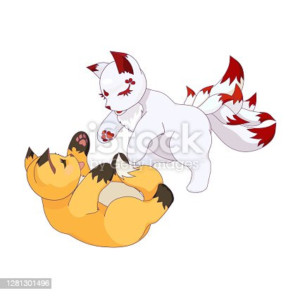 istock Young Kumiho and Red Fox-cub are playing on white isolated background, vector illustration in Cartoon design style, concept of Asian Culture and Korean Fairytales, Magic and Fairy tales Mythology. 1281301496