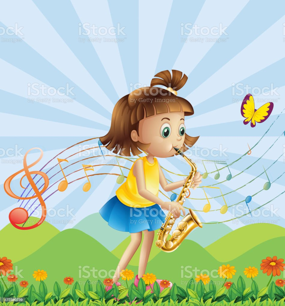 young lady at the hilltop playing with her saxophone vector art illustration