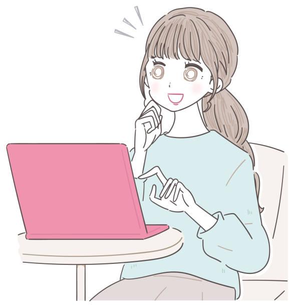 若い女性がパソコンを使っている。 - 大学生 パソコン 日本点のイラスト素材/クリップアート素材/マンガ素材/アイコン素材