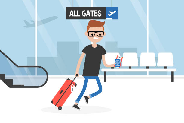 Young late passenger running through the airport terminal, holding the luggage, documents and boarding pass. Travel. Flight. Tourist. Concept. Flat editable vector illustration, clip art Young late passenger running through the airport terminal, holding the luggage, documents and boarding pass. Travel. Flight. Tourist. Concept. Flat editable vector illustration, clip art airport clipart stock illustrations