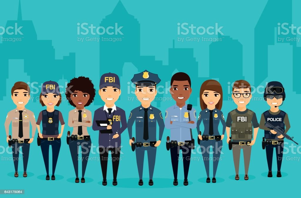 Young law enforcement officials are on the background of the city. vector art illustration