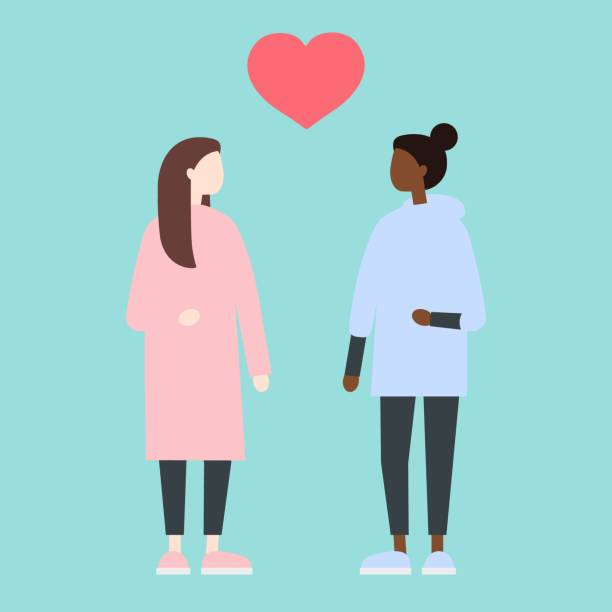 illustrazioni stock, clip art, cartoni animati e icone di tendenza di young lesbian ladies standing in front of each other. romantic relationships. homosexuality. lgbtq - coppia gay