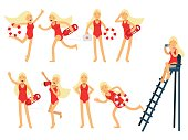 Young lifeguard woman character doing her job set. Water rescue of colorful vector Illustrations