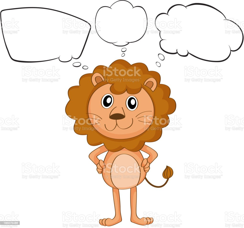 young lion with empty callouts royalty-free stock vector art