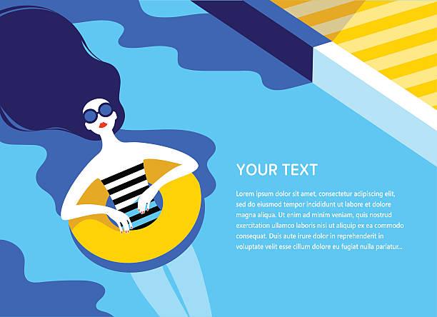 young long-haired girl sunbath on ring in the swimming - ビーチファッション点のイラスト素材/クリップアート素材/マンガ素材/アイコン素材