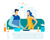 Young Loving Couple Cooking Together on Kitchen. Family Prepare Dinner with Bottle of Wine on Table. Every Day Routine, Love, Human Relations, Romantic Evening Meal. Cartoon Flat Vector Illustration